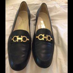 GORGEOUS Ferragamo navy pumps/loafers/heels!!!!!! EUC--barely worn, gorgeous lustrous leather shoes. Ferragamo Shoes Heels