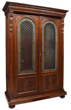 ITALIAN VICTORIAN WELL CARVED WALNUT BOOKCASE Or Entry Way Coat Closet,  19th Cen (2k