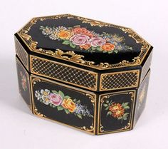 BOX WITH COVER Bohemia ca. 1900, probably Ludwig Moser Black-purple glass with coloured enamel painting.