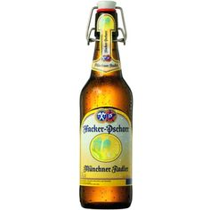 Cerveja Hacker-Pschorr Münchner Radler, estilo Fruit Beer, produzida por Hacker-Pschorr, Alemanha. 2.5% ABV de álcool.