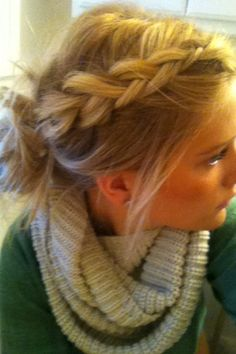 Braid into messy bun