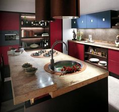This modern kitchen set with light oak structure is including the furniture, such the table, chair and stools. This is Tribe, kitchen that was designed by Kitchen Island With Sink, Modern Kitchen Island, Stylish Kitchen, Kitchen Sets, Modern Kitchen Design, New Kitchen, Kitchen Decor, Island Sinks, Marble Island