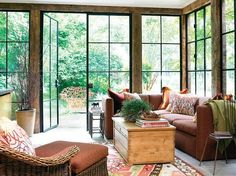 sun room floor to ceiling factory windows steel windows Steel Windows, Big Windows, Floor To Ceiling Windows, Windows And Doors, Iron Windows, Design A Space, Life Design, House Design, Interior Architecture