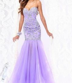 Gorgeous Purple Mermaid Prom Gown Lace Applique Evening Dress Strapless Party Dress on Etsy, $170.00