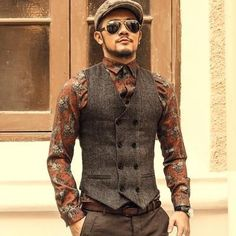 Mens Double Breasted Formal Grey Vest #MensFashion #MensFashionVest