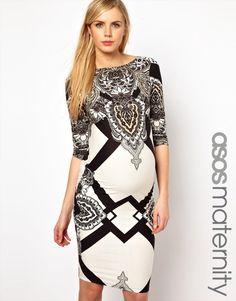 ASOS Maternity   ASOS Maternity Midi Dress With Geo Scarf Print at ASOS