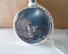 Fairy Fantasy Art Pendant Necklace,Fairy flying with owls, 25mm silver plated setting,glass cabochon cameo jewellery
