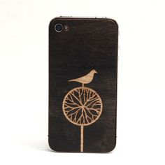 "Image of iPhone wood cover Artist Series ""Treebird"" black cherry"