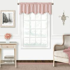 The Adaline faux-silk ruffled valance will provide a touch of pure elegace to a nursery or young child's room. The valance can be hung alone or paired with the matching Adaline juvenile blackout panels, Valances For Living Room, Living Room Windows, Rod Pocket Curtains, Valance Curtains, Window Valences, Shabby Chic Furniture, Living Room Furniture, Scarf Valance, Thing 1