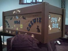 Puppies new toybox i painted to match basement