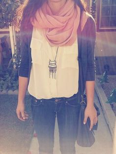 Scarf, necklace, jacket and white shirt for ...