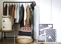 clothing rack, good for old houses with lack of closet space! House Design Photos, Cool House Designs, Le Closet, Closet Space, Interior And Exterior, Interior Design, Interior Ideas, Modern Interior, Interior Styling