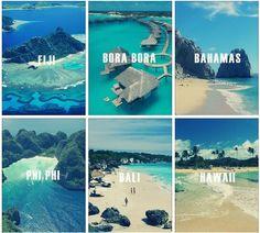 Fuji, Bora Bora, Bahamas, Phi Phi, Bali and Hawaii Beautiful Places To Travel, Beautiful Beaches, Beautiful Islands, Vacation Places, Dream Vacations, Dream Vacation Spots, Vacation Travel, Hawaii Travel, Oh The Places You'll Go