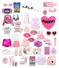 """pink"" by nymphet-lolita on Polyvore featuring Pleaser, Giambattista Valli, Fujifilm, Zippo, Hello Kitty, Topshop, Paper Dolls, ZeroUV, Lime Crime and Emilia Wickstead"