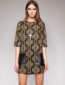 Leather pocket dress