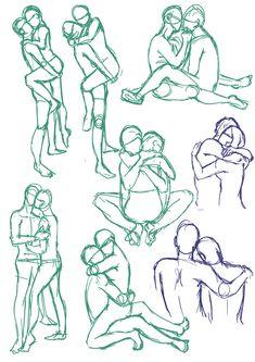 Drawing Reference Poses, Drawing Skills, Drawing Techniques, Drawing Tutorials, Art Tutorials, Art Reference, Kissing Reference, Drawing Base, Manga Drawing