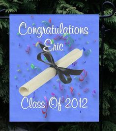 """Personalized Any Year Blue Graduation Garden/Yard Flag 4 Different Designs! Measures approx 11""""x15"""" - $14.95 Great for a Graduation Open House!"""