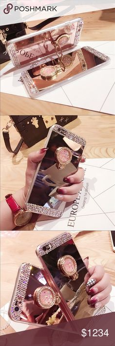 ❗️COMING SOON❗️Crystal Rhinestone Bling Phone Case BNWT, Silver crystal Rhinestone Bling mirrored phone case with stand for iPhones and Galaxy phones. Colors are black, red, green and white. ❗️Reserve yours today❗️Free gift with purchase🎁 Accessories Phone Cases