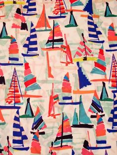 love this colorful sailboat print! Could be a really beautiful class project. Maybe pre-cut different sailboat shapes and let the kids use watercolors and oil pastels make them colorful. Motifs Textiles, Textile Patterns, Textile Prints, Print Patterns, Illustration Arte, Pattern Illustration, Illustrations, Boho Pattern, Pattern Design