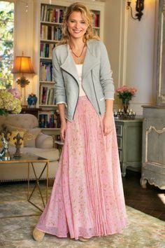 St. Germain Skirt - Pink Georgette Skirt, Abstract Print Skirt   Soft Surroundings
