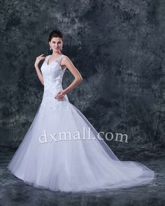 A-line Wedding Dresses V-neck Chapel Train Tulle Satin White 010010100152