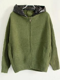 Green Hooded Bat Sleeve Sweater$45.00