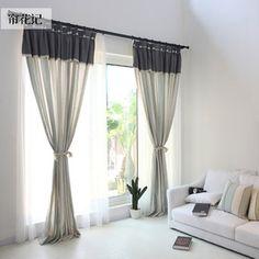 左岸 美式乡村简约北欧地中海浅蓝绿色棉麻条纹客厅卧室窗帘定制