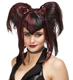 gothic fairy black and red wig halloween adult morris wig halloween - Red Wigs For Halloween