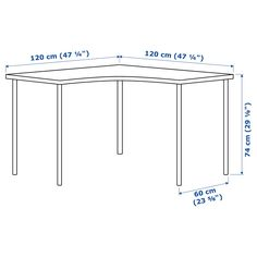 IKEA - LINNMON / ADILS, Corner table, white, Pre-drilled holes for five legs, for easy assembly. Adjustable feet make the table stand steady also on uneven floors. Corner Table Ikea, Ikea Table, Table D'angle, Ikea Linnmon, Organizar Closet, Craft Cabinet, Ikea Desk, Pc Desk, Ideas Para Organizar