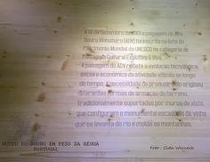 """Painel no acervo do Museu do Douro em Peso da Régua. A paisagem das colinas ao longo do Rio Douro com seus vinhedos em """"degraus"""" é resultado da contínua ação humana. Elas são,originalmente, íngremes,acidentadas e com solo pobre. Foram continuamente trabalhadas e cuidadas e hoje são produtivas e caracterizam a paisagem da região. Alto Douro Vinhateiro - classificada comoPatrimônio Mundial da UNESCO como Paisagem Cultural Evolutiva e Viva. Foto : Cida Werneck. Visite a página…"""