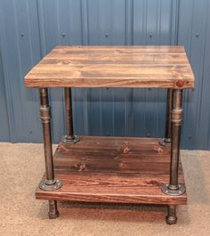 Industrial Wood and Pipe End Table/Rustic by BCIndustrialTreasure