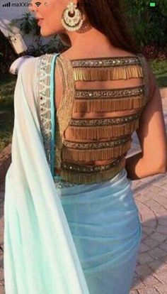Sari fashan Stylish Blouse Design, Fancy Blouse Designs, Bridal Blouse Designs, Saree Blouse Designs, Trendy Sarees, Stylish Sarees, Designer Blouse Patterns, Indian Couture, Indian Designer Wear