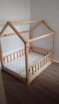 I like the idea of the rails too so that he doesn't fall out. Would like to transition by about Diy Toddler Bed, Toddler Rooms, Floor Beds For Toddlers, Toddler Floor Bed, Toddler House Bed, Baby Boy Rooms, Little Girl Rooms, Baby Bedroom, Girls Bedroom