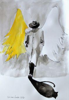 Praca akwarelą i piórkiem ''Anioł w kapeluszu'' - AdrianaLaubeArt - Obrazy akwarele