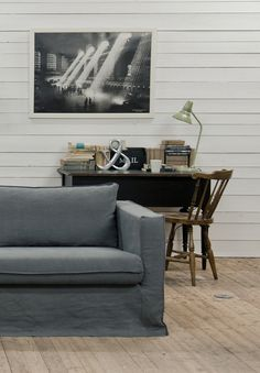 Urbanite | IKEA Karlstad sofa with a Medium Grey Rosendal Pure Washed Linen cover by Bemz | www.bemz.com