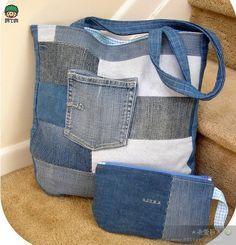We sew bags from old jeans and denim. Jean Crafts, Denim Crafts, Jean Purses, Purses And Bags, Do It Yourself Jeans, Denim Handbags, Denim Purse, Patchwork Jeans, Old Jeans