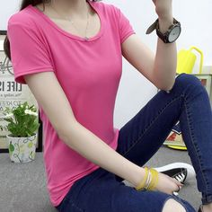 Solid Color Summer Women T shirt Short Sleeve Female T-shirt Pocket Loose Tops Round Neck Simple Tee Shirts 4 Colors #Affiliate