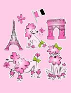 French Paris poodle w/ Eiffel Tower and Arc de Triomphe stock vector art 8811970 - iStock