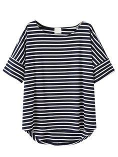 Black Stripes Short Sleeve T-shirt   Choies