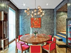 Interior Design Magazine: A Jason Miller chandelier hangs in the dining room of this Greenwhich Village apartment designed by Revamp. Apartment Projects, Apartment Design, Dining Room Sets, Dining Room Design, Classic Dining Room, Loft, Beautiful Dining Rooms, Interior Design Magazine, Interior Exterior