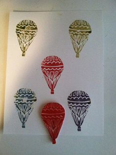 Hot Air Balloon Carved Stamp by Nanc Lynn, via Flickr stamp carving 101 group