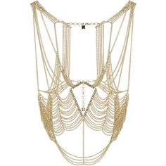 BCBGMAXAZRIA Cutout Body Chain ($194) ❤ liked on Polyvore featuring jewelry, necklaces, accessories, gold, cut out jewelry, bcbgmaxazria, body chain jewelry and chain jewelry