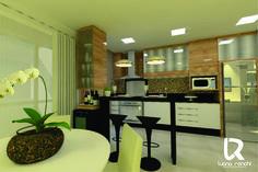 Cozinha e salas integradas