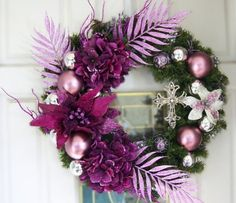24 Inch Purple Wreath with a Cross by CreatedByGraceforYou on Etsy, $125.00