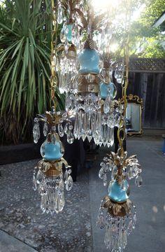 5Lt Vintage Aqua Robin egg glass tole Brass ceiling lamp chandelier swag Lantern