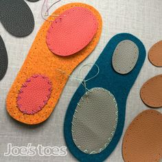 Joe's Toes Footpads - Elbow Patches and Knee Patches in Three Sizes – Joe's Toes US Felted Slippers, Crochet Slippers, How To Make Shoes, Cool Things To Make, Things To Sell, Elbow Patches, Sew On Patches, Socks And Heels, Sewing Projects