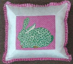 Kate Dickerson needlepoint bunny, stitched by Jane Hayes & finished by Funda Scully