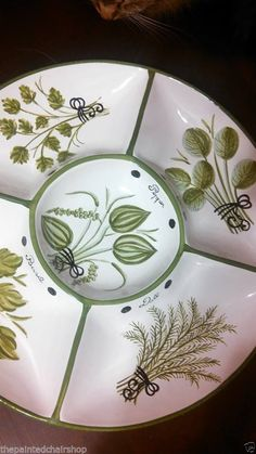 chip dip vegetable round divided dish platter plate bowl portugal painted tray! - Serving Bowls