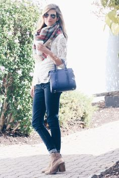 fall outfit with blanket scarf