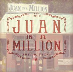 Great breakfast place in East Austin on Caesar Chavez. The Don Juan taco gives you enough food for the day.  www.juaninamillion.com